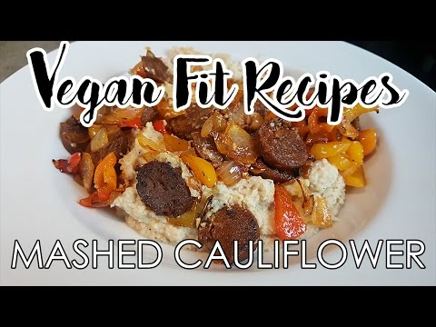Mashed Cauliflower with Sausage Peppers and Onions